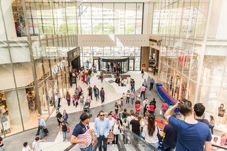BUCHAREST ROMANIA  MAY 14 2015: People Crowd On Escalators In Luxury Shopping Mall.