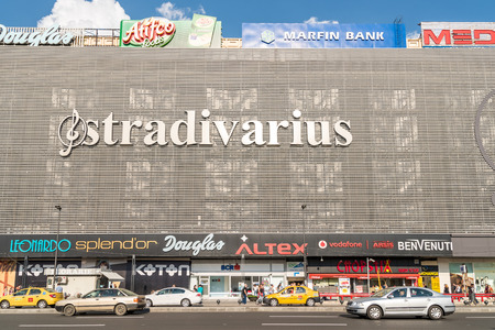 enlarged: BUCHAREST ROMANIA  MAY 15 2015: Unirea Mall Shopping Center Magazinul Unirea opened in 1976 and enlarged in 1989 was the largest department store in Communist Romania.