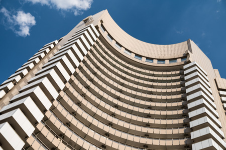 intercontinental: BUCHAREST ROMANIA  MAY 15 2015: The Intercontinental Hotel is a high rise five star hotel  77 m tall 25 floors containing 283 guest rooms and is located downtown of Bucharest historical center.