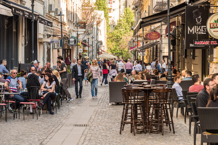 BUCHAREST ROMANIA  MAY 17 2015: People Enjoy Spring Time Downtown Lipscani Street One Of The Most Busiest Streets Of Bucharest.