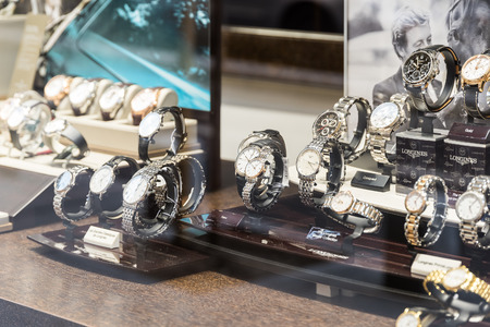 BUCHAREST ROMANIA  MAY 19 2015: Luxury Watches For Sale In Shop Window Display.