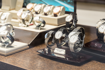 luxury watches: BUCHAREST ROMANIA  MAY 19 2015: Luxury Watches For Sale In Shop Window Display. Editorial
