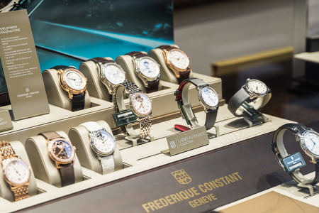 store display: BUCHAREST ROMANIA  MAY 19 2015: Luxury Watches For Sale In Shop Window Display. Editorial