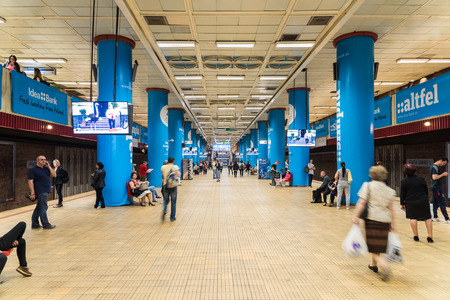 subway station: BUCHAREST ROMANIA  MAY 19 2015: People Waiting For Train In Grand Central Subway Station In Downtown Bucharest. Editorial