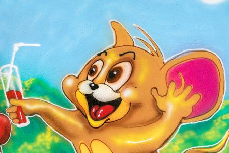 disney cartoon: BUCHAREST ROMANIA  MAY 20 2015: Jerry The Mouse Cartoon Characters Graffiti In Youths Public Amusement Park Tineretului Park.