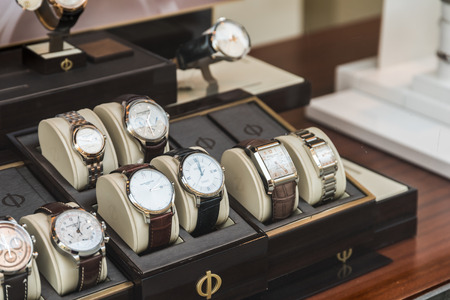 watch: BUCHAREST ROMANIA  MAY 23 2015: Luxury Watches For Sale In Shop Window Display.