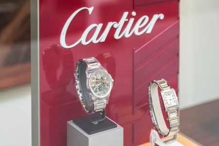 shop window display: BUCHAREST ROMANIA  MAY 23 2015: Luxury Watches For Sale In Shop Window Display.