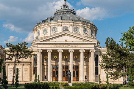 bucuresti: BUCHAREST ROMANIA  MAY 24 2015: The Romanian Athenaeum George Enescu Ateneul Roman opened in 1888 is a concert hall in the center of Bucharest and a landmark of the Romanian capital city.