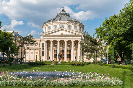 BUCHAREST ROMANIA  MAY 24 2015: The Romanian Athenaeum George Enescu Ateneul Roman opened in 1888 is a concert hall in the center of Bucharest and a landmark of the Romanian capital city.