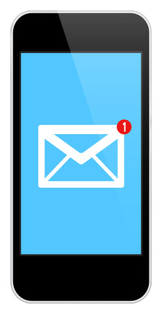 mail: Mail Notification On Modern Black Smartphone Isolated On White