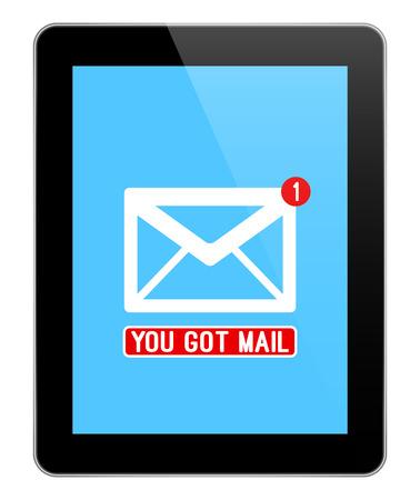 알림: Mail Notification On Modern Black Tablet Isolated On White