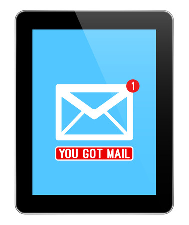 Mail Notification On Modern Black Tablet Isolated On White