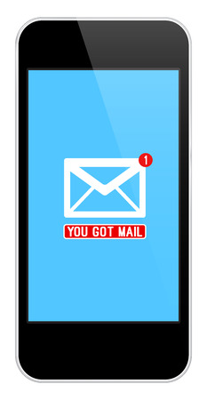 notification: Mail Notification On Modern Black Smartphone Isolated On White