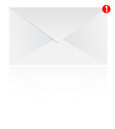 notification: Mail Notification Envelope With Reflection Isolated On White