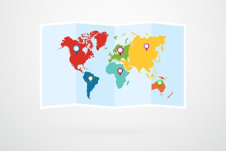 World Map Vector Infographic Vettoriali