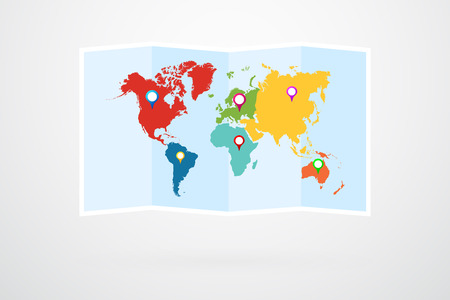 World Map Vector Infographic Çizim