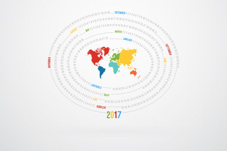 monthly calendar: World Map Monthly Calendar For Year 2017 Illustration
