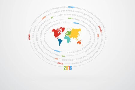 monthly calendar: World Map Monthly Calendar For Year 2016