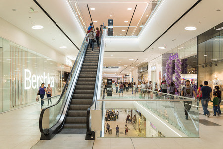 BUCHAREST ROMANIA  JUNE 31 2015: People Crowd Shopping In Luxury Mall Interior.