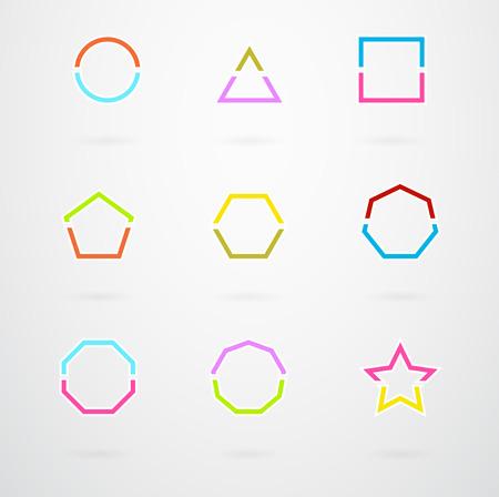 basic shapes: Basic Geometric Shapes Vector Icon Set In Retro Colors Illustration