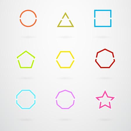 basic: Basic Geometric Shapes Vector Icon Set In Retro Colors Illustration