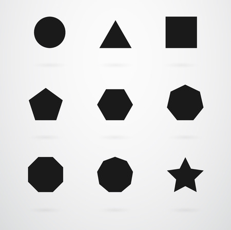 Basic Geometric Shapes Vector Icon Set  イラスト・ベクター素材