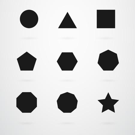 Basic Geometric Shapes Vector Icon Set Illustration