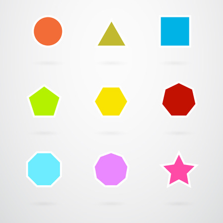Basic Geometric Shapes Vector Icon Set In Retro Colors  イラスト・ベクター素材