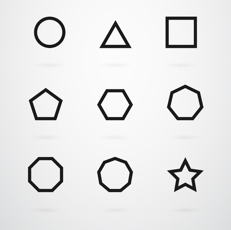 Basic Geometric Shapes Vector Icon Set Vectores