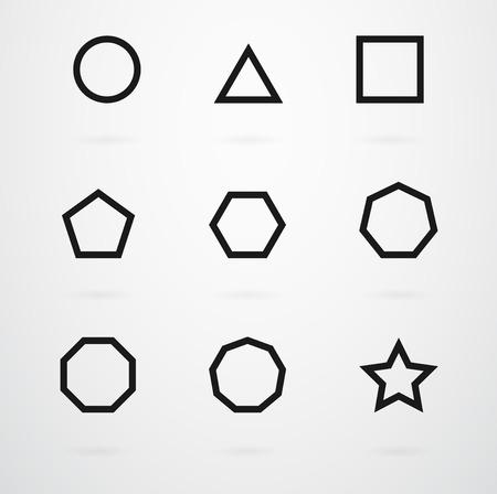 Basic géométriques Vector Icon Set