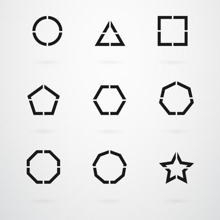basic: Basic Geometric Shapes Vector Icon Set Illustration