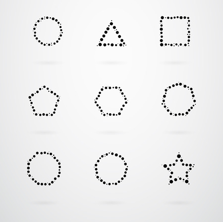 basic: Basic Geometric Shapes Vector Icon Set Illustration