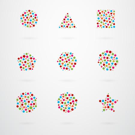 geometrical shapes: Basic Geometric Shapes Vector Icon Set Illustration