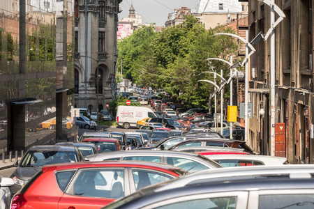 traffic jams: BUCHAREST ROMANIA  JUNE 03 2015: Traffic Car Jam In Downtown Of Bucharest City.