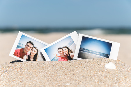 Instant Photo Of Young Boyfriend And Girlfriend Happy Couple On The Beach photo