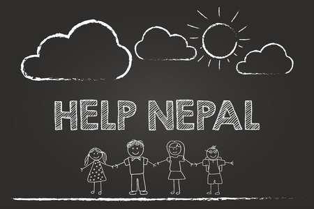Help Nepal With Donations Sign On Blackboard Vector