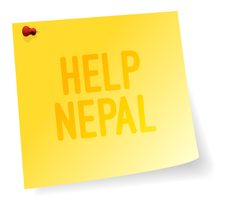 disaster relief: Yellow Note Sticker With Help Nepal Sign