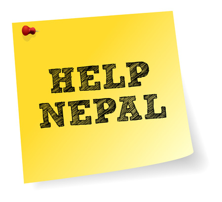 quake: Yellow Note Sticker With Help Nepal Sign