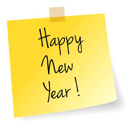 yellow notepad: Happy New Year Yellow Stick Note Paper Vector Isolated