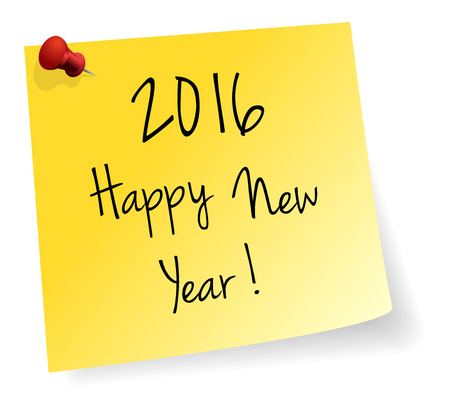 stick note: Happy New Year 2016 Yellow Stick Note Paper Vector Isolated