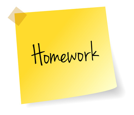 stick note: Homework Yellow Stick Note Paper Vector Isolated Illustration