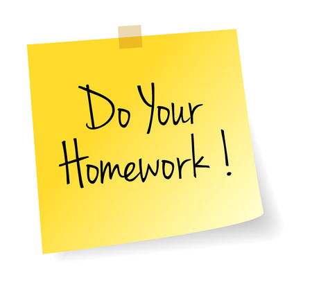 Do Your Homework Yellow Stick Note Paper Vector Isolated