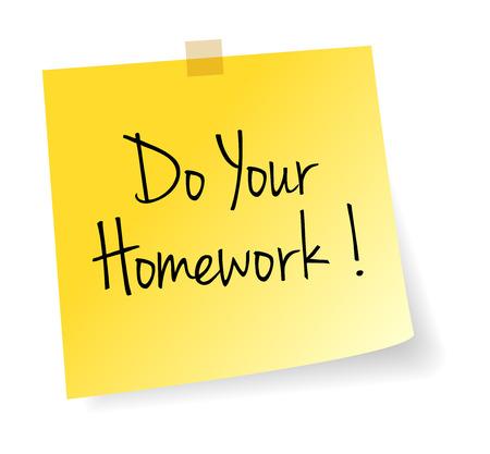 Haga su tarea Palo Amarillo Papel de nota del vector aislada Foto de archivo - 40933971