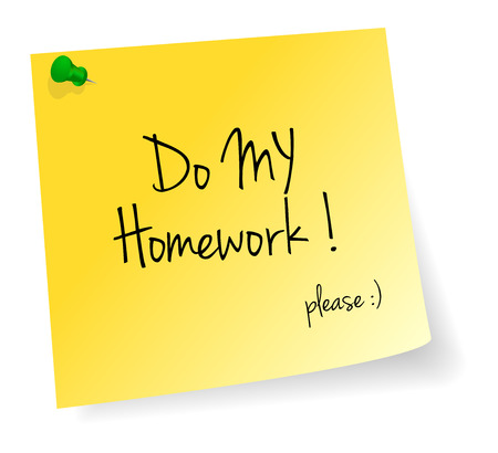 stick note: Do My Homework Yellow Stick Note Paper Vector Isolated Illustration