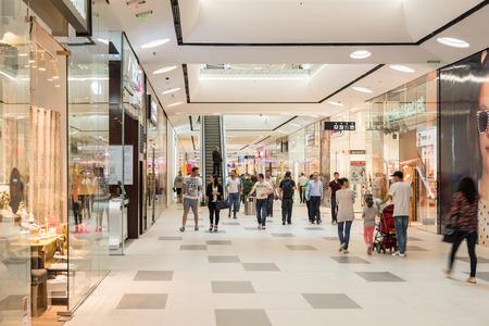 BUCHAREST ROMANIA  JUNE 06 2015: Shoppers Rush In Luxury Shopping Mall Interior.
