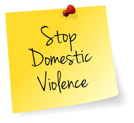violencia intrafamiliar: Combatir la Violencia Doméstica Palo Amarillo Nota Vector de papel