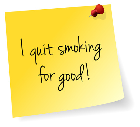 quit smoking: I Quit Smoking For Good Yellow Stick Note Paper Vector