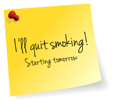 quit smoking: I Will Quit Smoking Starting Tomorrow Yellow Stick Note Paper Vector Illustration