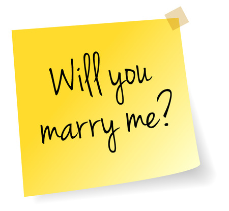 marry: Will You Marry Me Yellow Stick Note Paper Vector