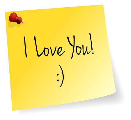 stick note: I Love You Yellow Stick Note Paper Vector